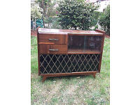 Vintage retro glass display cabinet mid century 50s 60s sideboard book case