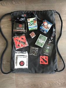 DOTA2 TI8 SWAG BAG BUNDLE!!!NEVER OPEN!!! EVERYTHING INCLUDED!!!