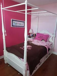 Girls bedroom set - twin poster bed, dresser and night table