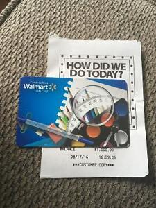 $1000 Wal Mart Gift Card for $860 ** SAVE $140 **