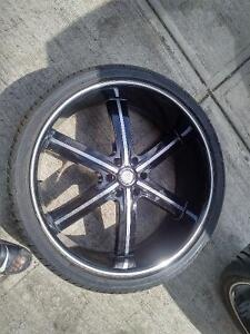 26' Black and Machined rims with tires