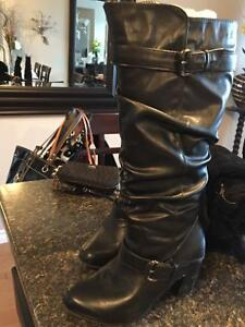 Black leather high boot inside zip wide leg size 7