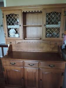 Solid maple Roxton china cabinet with hutch