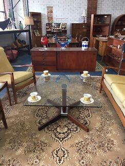 Teak & glass coffee table Danish style retro mid century era