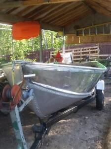 14' Aluminum boat with trailer and tank