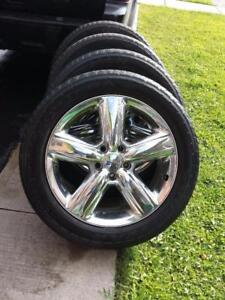 DODGE DURANGO FACTORY OEM 20 INCH CHROME CLAD ALLOY  WHEEL SET OF FOUR IN EXCELLENT CONDITION.