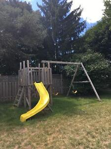 Swing Set with Fort, Slide and Pirate Net London Ontario image 1