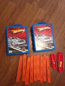 2 cases of hotwheels and tracks