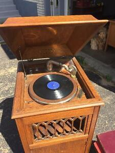 Vintage Amphion Phonograph and records