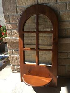 Large Wood Wall Mirror with Shelf