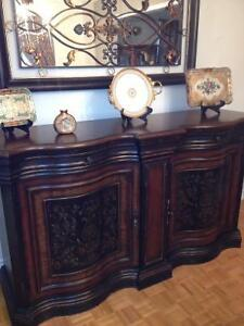 Solid wood (Hooker brand) dining room hutch .
