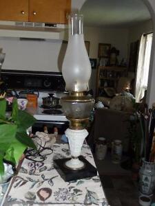 Antique Tall Elegant Oil Lamp With Frosted Shade