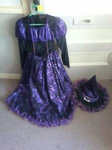 Girl's sz.10-12 witch costume with matching hat $ 15.00