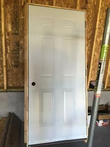 Steal door with casing
