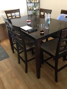 Dining room set, bar table and 6 chairs