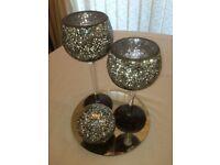 *Reduced* x11 wedding centrepiece sets, black & sliver mosaic goblets (candle holder x2) & ball (x1)