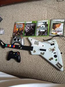 Xbox 360 2 controllers guitar kinect and headset