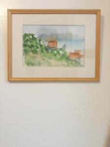 """Oakville Water Color Painting Original Nature Landscape brown green blue art 12x16"""" Framed signed 'Elina'"""