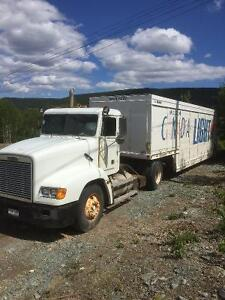 Freightliner fl112 single axle tractor &14 bay beverage trailer.