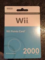 2000 Wii points card