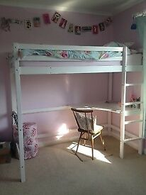 Single high sleeper bed with desk underneath