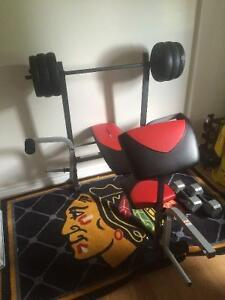 Bench press complet , + 80 livres poids musculation , gym