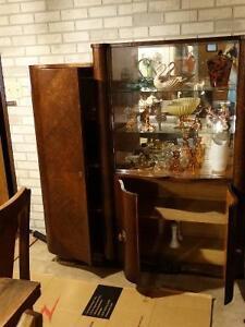Very Unique Quarter-Sawn Belgian Oak China Cabinet/Bookcase