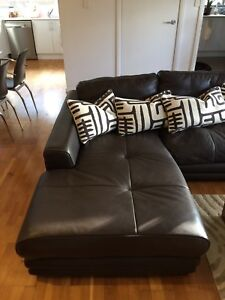 Leather Tan/Brown  3Seater w Chaise Lounge Cronulla Sutherland Area Preview
