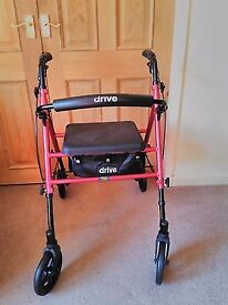 Lightweight 4 Wheel Height DRIVE Adjustable Walker/ Rollator With Seat-USED ONLY A COUPLE OF TIMES