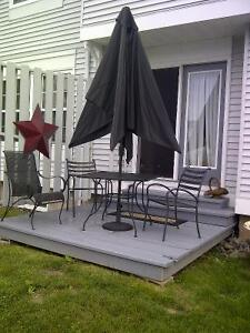 Patio Table, Chairs, Base For Umbrella And Umbrella