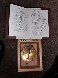 Portable Equatorial Sun Dial - made of brass, with wooden box, instructions & guide booklet