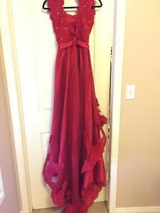 Sherri-Hill beaded Red grad/evening/engagement keyhole dress