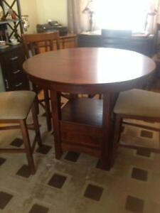 """Dinning room table set"""" pub height"""" and side board"""