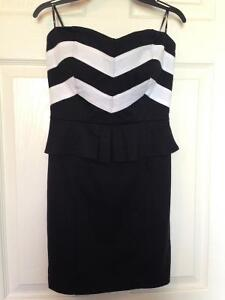 Adorable black and white strapless dress