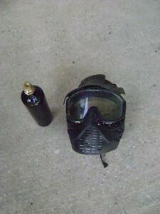 paintball mask and C02 bottle