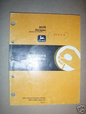 John Deere 862b Scraper Operators Manual