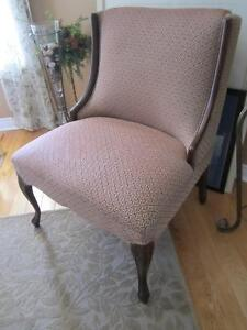 Armless Cherry Wood Antique Accent Chair