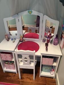 Girl's Vanity and Make-Up Table and Chair