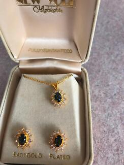 BN no tags . 24ct gold plated necklace/ear ring set