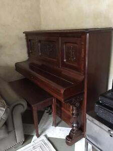 Antique Wood Piano and Wood Bench