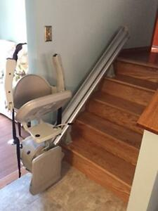 stair lift, wheelchair accessible shower and transfer wheelchair