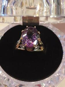 #1127 14K Amethyst with Diamonds - Size 7! Calling all February babies!! Won't last long!!