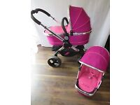 ICANDY PEACH 3 COMPLETE PACKAGE IN FUCHSIA COST £1200 QUICK SALE £380