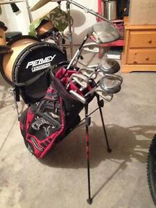 Left handed clubs and bag