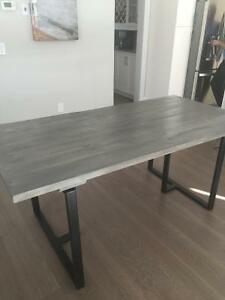 Solid pine dining table with steel legs