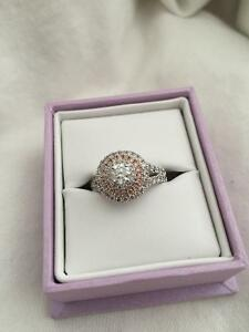 14 cT white and rose gold engagement ring.