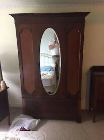 Antique Wardrobe Oval Mirror