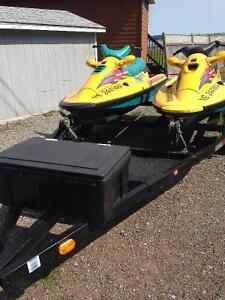 2 arctic cat tiger sharks with double trailer