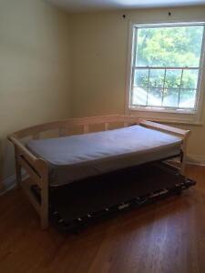 HARDWOOD BED FRAME + MATTRESS + XTRA BOX SPRING