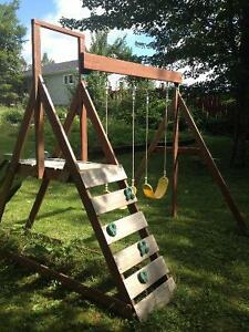 Wood Framed swing and slide Back Yard Adventure
